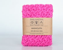 Hot Pink Washcloth - Your Choice of COLOR -handmade washcloth, bridal shower gift, crochet washcloth, crochet wash cloth, natural washcloth