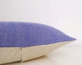 Blue and gray herringbone pillow: throw pillow in handwoven wool, fairtrade pillow
