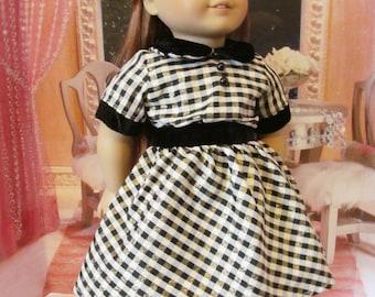 Plaid  Dress, Holiday Dress, Taffeta  Dress, Christmas Dress, 18 inch Doll Clothes