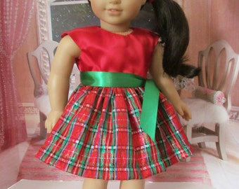 Party dress, taffeta dress,  plaid dress, holiday dress, 18 inch doll clothes