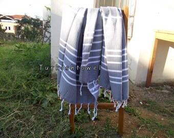 Turkishtowel-Hand woven,medium weight,very soft,heart pattern,Turkish Bath,Beach Towel-Weft is Grey and White stripes
