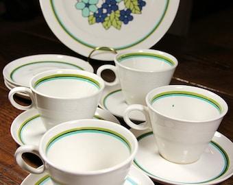 Vintage Franciscan Cantata Teacup & Saucer Set - 11 piece set - Green, Blue