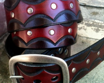 Half Moon Shades of Red Handcrafted Leather Belt