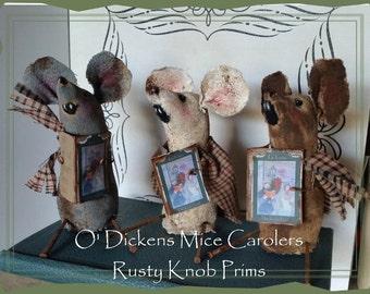 Primitive Mice Carolers Set of Three Handmade Ornaments