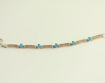 Vintage Sterling Silver Bracelet Link Track Art Glass Foil (ET31)
