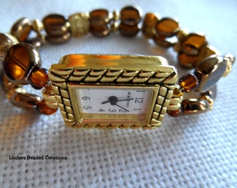 Watch Band Stretch In Brown Glass And Gold