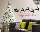 Jingle All The Way Santa Wall Decal- Living Bedroom Kids Room decor hallway Santa sleigh, Holiday season presents, gifts, carols, winter.