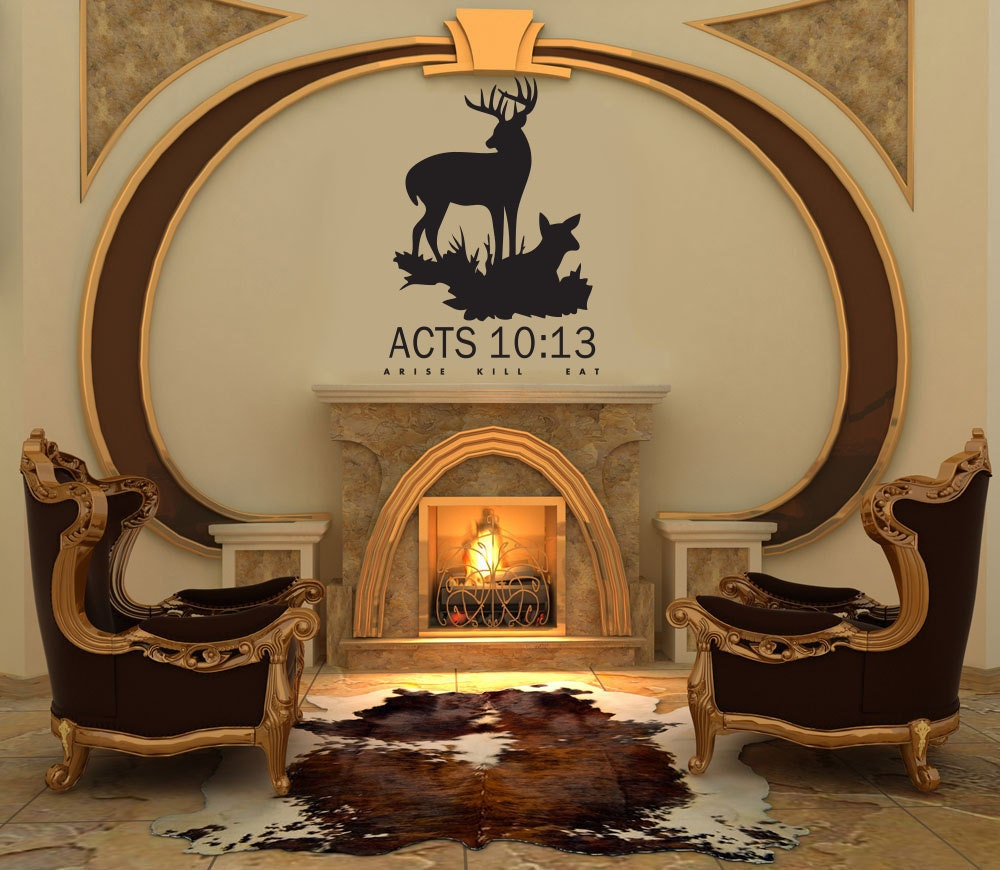 deer hunting decal acts 10 13 arise kill eat wall decal vinyl