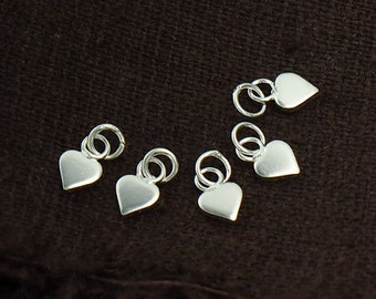 10 of 925 Sterling Silver Little Heart Charms 4 mm. :th2148