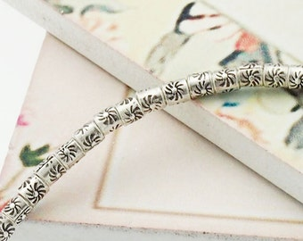 "60 of Karen Hill Tribe Silver Sun Printed Beads 2.5 x 2.8 mm. 6.5"" :ka4030"