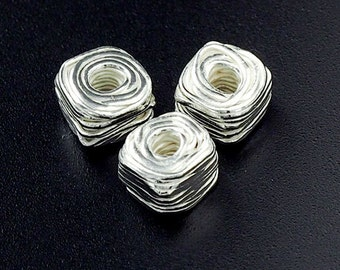 4 of Karen Hill Tribe Silver Wire Cube Beads 7x5 mm. :ka4059