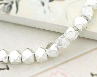 10 of Karen Hill Tribe Silver Facet Beads 4 mm. :ka4069