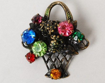 Vintage small brass filigree brooch, basket with flowers embellished with glass rhinestones