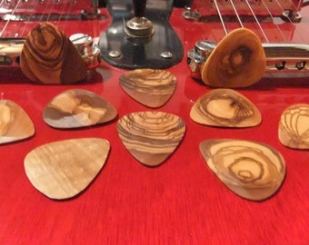 Guitar Picks, hand made olive wood Plectrums - set of 10