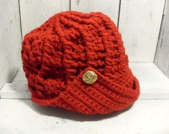 Rockin' Red Chic Helmet Style City Hat for Ladies