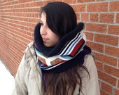 Geometric Retro Cowl Scarf - Cotton and Angora - : Upcycled Recycled Repurposed Eco Friendly