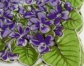 Gorgeous Unused Vintage 1940s VioletS Floral Hankie - Purple Cotton - B6