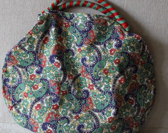 1930s 40s Cute Cotton Purse - Floral Feedsack Fabric B6