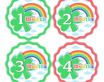 Baby Month Stickers FREE Baby Month Milestone Sticker Baby Monthly Stickers Baby Girl Bodysuit Sticker Irish Clover St Patricks Rainbow 199G