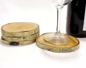 Wood Coasters with Birch Bark, Wedding Coasters, Drink Coasters (Set of 4)