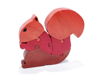 Handmade Red Squirrel Puzzle - Red Squirrel Decoration