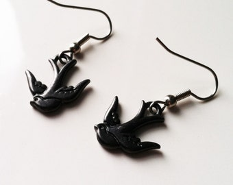 Black Sparrow Dangle Earrings