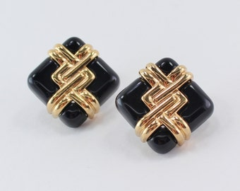 SALE 10 PERCENT OFF Vintage 1992 Signed Avon Convertible Colors Gold Tone Faux Onyx Black Plastic Square Minimalist Pierced Earrings