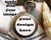 Custom made pocket watch with your design commission pendant. dome glass bronze antique keychain key chain painting drawing picture featured image