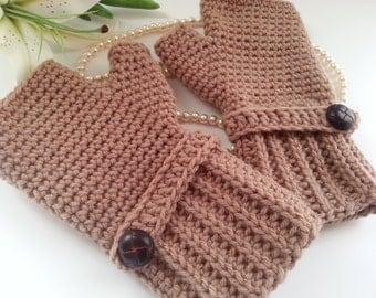 Crochet fingerless gloves in taupe, wrist warmers-Winter Gloves