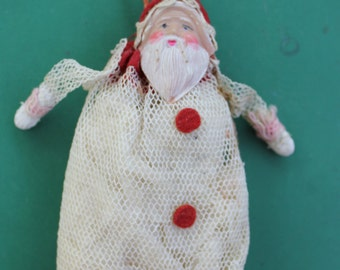 Vintage  Cotton, Net, Mesh, Santa Christmas Candy Container,  Celluloid Face, PRICE REDUCED