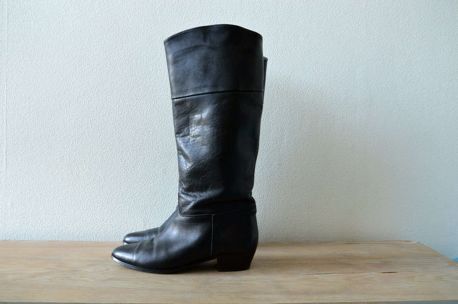 Black Leather Boots Size EU40, US9