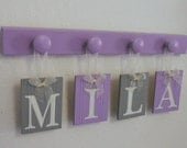 GRAY and PURPLE Nursery Baby Girl Personalized Gifts - Baby Girl Name - Light Purple and Grey Plaques on Wood Hooks Light Purple