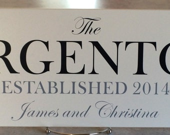 Custom Family Name Sign Plaque Painted (white) or (off white) 7x22, Family Established Date,  Wedding / Anniversary / Family Gifts