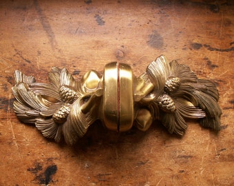 Vintage Burnished Brass Finish Pine Cone Bookends - Great Cabin, Lodge Decor