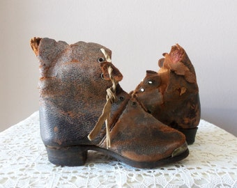 Antique Baby Boots - 1904, Small, Heel to Toe 5 inches, Wooden Soles, Brass Toe Tips, Nails, Museum Worthy, Collectible, OOAK