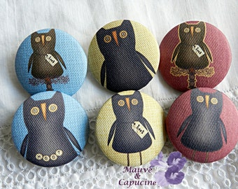 6 fabric buttons,  owls, 0.94 in / 24 mm