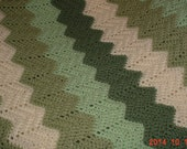 Vintage Crocheted Green Afghan Blanket Throw