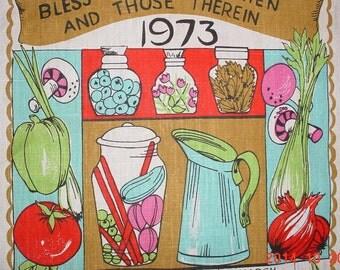 VINTAGE Cloth Calendar Tea Towel - 1973 Wall Hanging