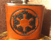 Empire Emblem Leather Flask Handcrafted Star Wars Fandom - 6oz Stainless Steel Flask - MADE TO ORDER