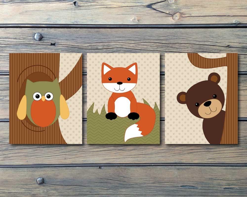 Echo Woodland Forest Animals Nursery Art Set Of 3 Instant