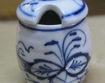 Sm Blue Danube Comdiment Jar Covered Vintage