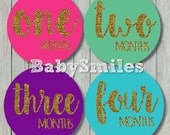 FREE GIFT Monthly Baby Stickers Baby Month Stickers Girl Month Stickers Monthly Bodysuit Sticker Milestone Stickers- Colorful Gold Glitter