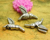 50 pcs Antique Silver Hummingbird Beads Silver Spacer Beads 16x12mm Double Sided CH1864