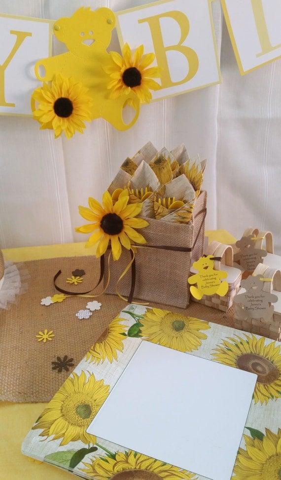 sunflower bridal shower baby shower burlap box buffet caddy