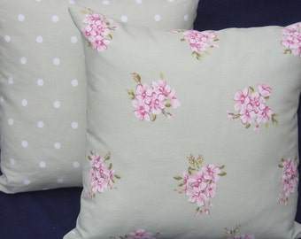 Two shabby cottage chic Cushion Covers, 16 x 16 Pillow Covers Pink and Sage Green Floral backed with Sage Green Dotty Fabric
