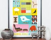 Eames poster, retro nursery art, colorful art, mid century modern, nursery print, eames era, retro poster, eames chair, art for nursery
