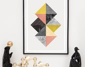 Watercolor Abstract, Geometric print, Abstract print, Scandinavian print, Pink yellow, Marble textrue art, Mid century modern, minimalist