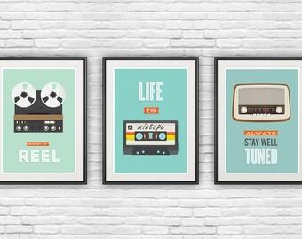 Retro poster,set of 3 prints, inspirational quote print, motivational poster, quote art, music art, positive quote, retro wall art, pop art