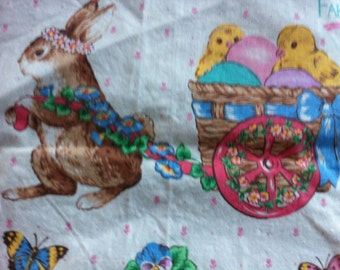 Cottontail Corner Easter Spring Fabric 100% Cotton Fabric Fabric Bunny Fabric Easter Fabrics Applique Sew Craft Easter