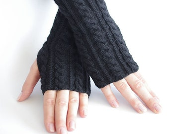 Cable knit extremely soft PURE virgin wool black fingerless gloves, wrist warmers, arm warmers, fingerless mittens
